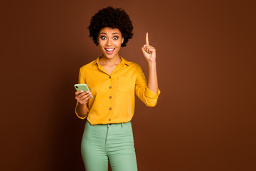 Omg i know what text. Excited crazy afro american girl blogger use smartphone type sms think get...