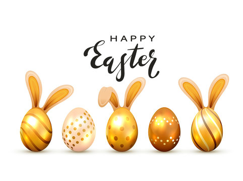 Golden Easter Eggs with Rabbit Ears and Lettering Happy Easter on White Background