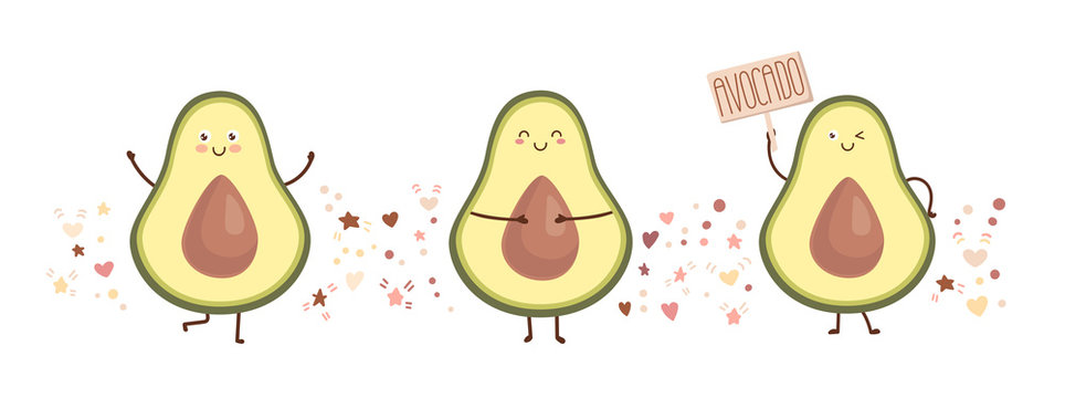 Vector illustration of happy avocado. Set of three kawaii characters with doodle hearts, starts, and dots. Cute fruits in a trendy flat style. Card, print, poster design isolated on white background.