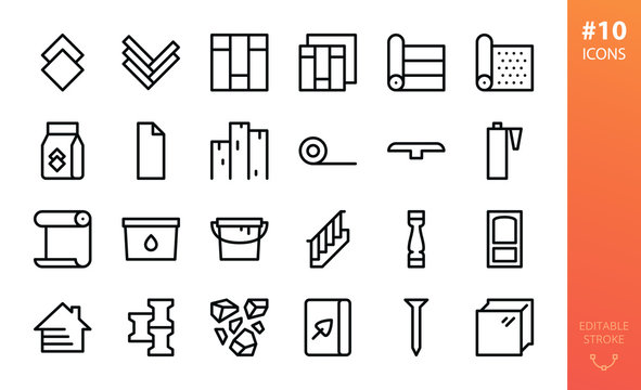 Building materials icons set. Set of laminate, tile, parquet, vinyl floor, silicone sealant, wallpaper glue, paint can, siding, tile adhesive, wooden boards, linoleum, carpet roll vector outline icon