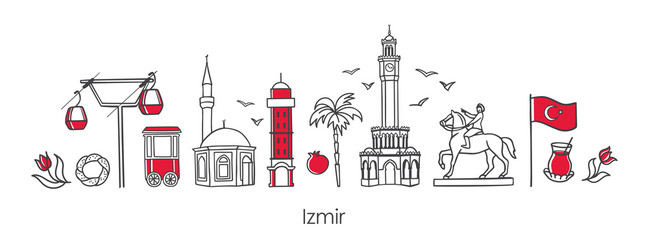 Vector illustration Symbols of Izmir, Turkey. Clock Tower, historic elevator, mosque, monument and other Turkish landmarks. Horizontal banner design for souvenir print and city promotion Fotomurales