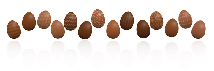 Chocolate Easter eggs. Lined up with different chocolate and patterns, dark, light and milk chocolate. Three-dimensional isolated vector illustration on white background.