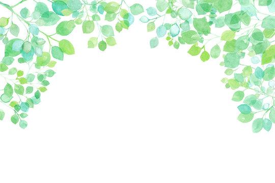 新緑の木漏れ日のフレーム 水彩イラストトレースベクター レイアウト変更可能