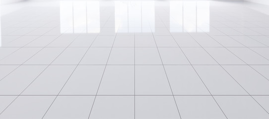 White tile floor background in perspective view. Clean, shiny and symmetry with grid line texture. For decor bathroom, kitchen and laundry room. And empty or copy space for product display. 3d render.