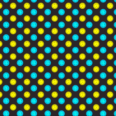 Pickleball ball . Pattern with yellow and blue pickleball balls on the gray background . Vector illustration .