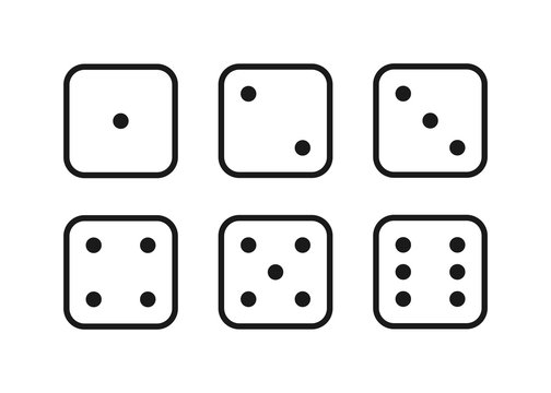 dice for game, eyes illustration, isolated icons set vector