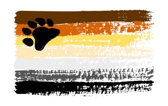 Grunge Bear Brotherhood pride flag. Vector illustration Symbol of gay. LGBT movement. LGBTQ community.