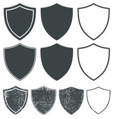 Web Security shield icon shape symbol set. Police badge logo sign collection. Vector illustration image. isolated on white background. Grunge rubber stamp style.