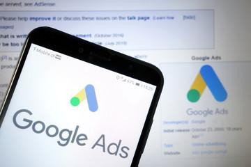 KONSKIE, POLAND - January 11, 2020: Google Ads logo on mobile phone