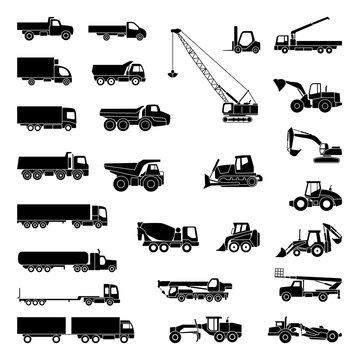 Detailed icons of trucks and construction equipment