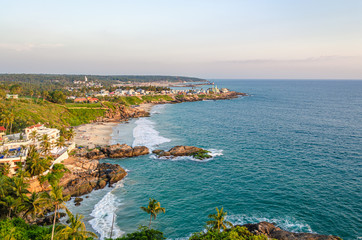 Beautiful aerial view of the rocky beach of Vizhinjam, Thiruvananthapuram, Kerala, India.