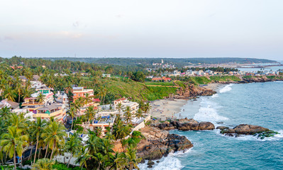 Beautiful aerial view of Vizhinjam Beach in Thiruvananthapuram, Kerala, India.