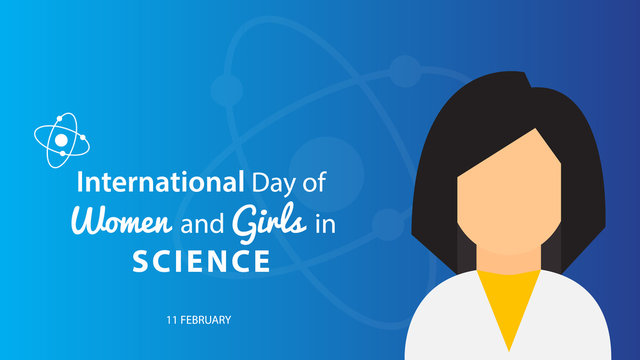 International Day of Women and Girls in Science. Vector illustration background