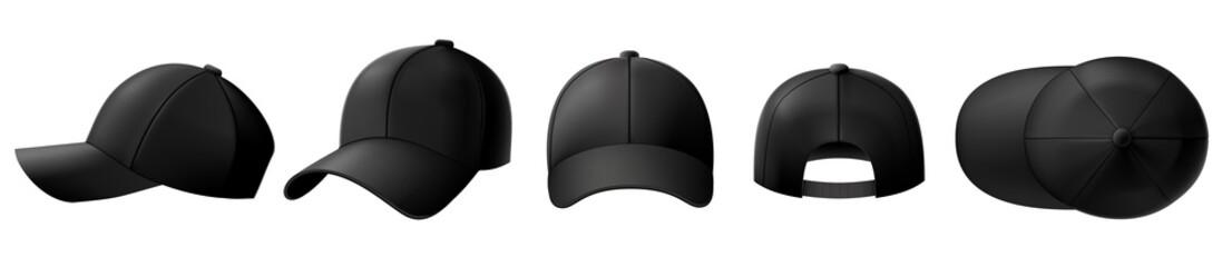 Black cap mockup. Baseball caps, sport hat template and realistic 3D top view cap vector illustration set. Collection of elegant realistic fashion accessories, stylish headgear, headdress, headwear