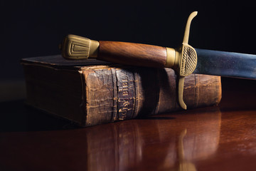 One Hundred Fifty Year Old Bible with Sword