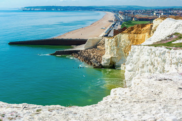 View of splash point in Seaford, East Sussex, UK