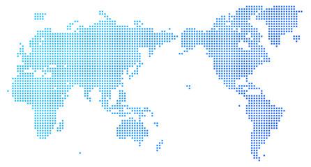 四角いドットで構成された世界地図-青色