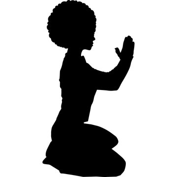 African American Woman Praying on Floor, Black Afro People Silhouette Vector