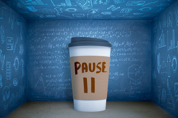 3d rendering of huge paper coffee cup with word PAUSE icon, standing in blue room with walls all covered in algebraic formulas and business-related images.