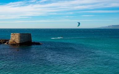 Tarifa, Spain. Phoenician port and breakwaters to Isla Palomas