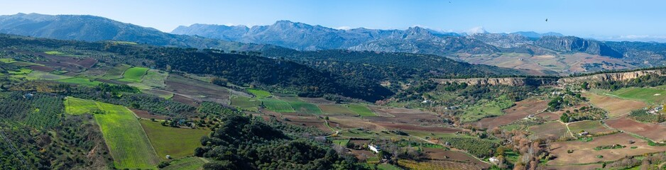 Ronda panorama and canyon view, Spain. Places, scenic.