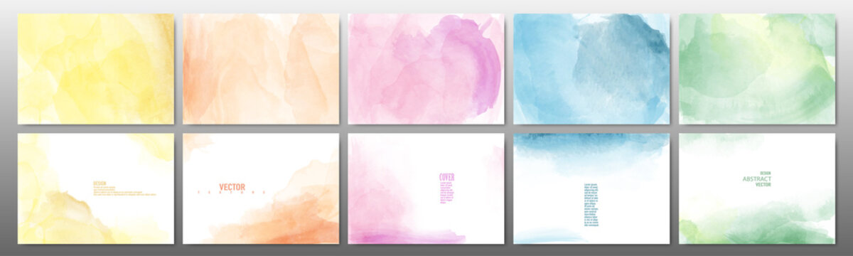 Set of pastel color watercolor background