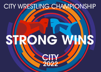 Poster design Sports freestyle wrestling. Stylized athletes in color circles. Inscription Strong wins