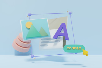 image, text and button for Web design contents 3d rendered illustration