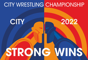 Wrestling poster design. Stylized Athletes Face to Face. Vector graphics