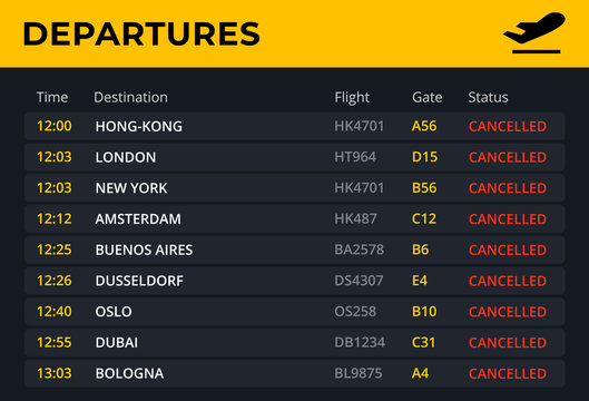 Departure board with all flights cancelled status. Airport schedule template with all flight info: time, destination, gate. Electronic board concept for railway station . Vector illustration.