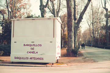 Traditional cinnamon cookies food truck in the park of Seville