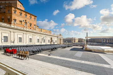 Chairs are lined up in preparation for a religious ceremony at St Peter's Square in Vatican City.
