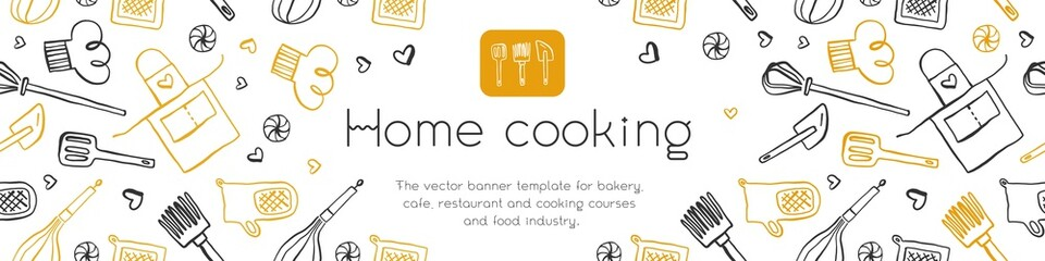 Homemade cooking banner with hand-drawn vector illustrations. Cooking courses banner. Cooking utensils vector. Vector templates of healthy food banner. Home cooking pattern.