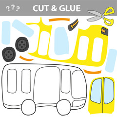 Use scissors and glue and restore the picture inside the contour. Easy educational paper game for kids. Simple kid application with Toy Bus.