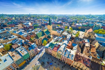 Wide angle aerial view of colourful houses in historical old district of Lviv, Ukraine