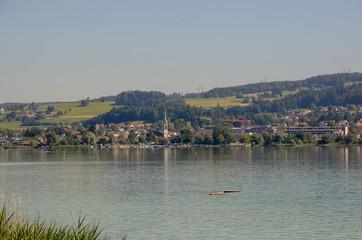 view of Pfeffikon city across the lake of Pfeffikon