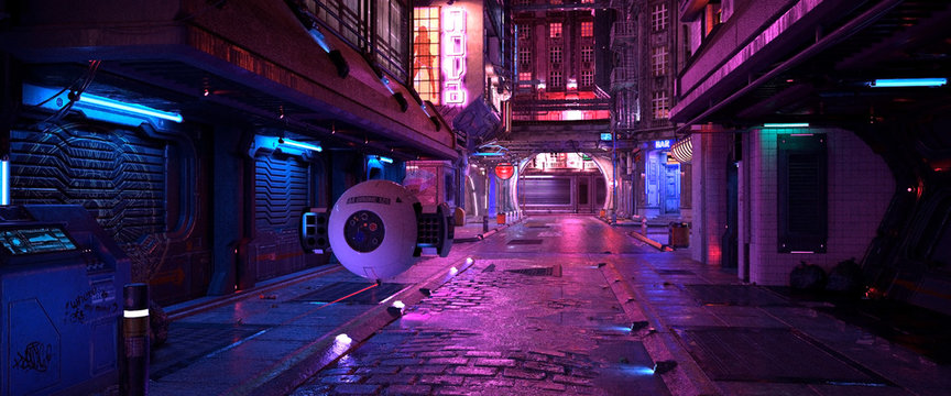 Bright neon night in a cyberpunk city. Photorealistic 3d illustration of the futuristic city. Empty street with blue neon lights.