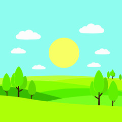 Vector illustration of beautiful countryside. Spring, summer