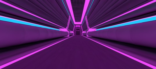 Fotomurales - Futuristic neon corridor with blue and violet lights. 3D illustration. Wallpaper in a cyberpunk style. Retro futuristic scene in a style of 80's.