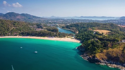 Fototapete - Hyperlapse of Nai Harn beach during sunny day, Phuket island, Thailand. Timelapse with zoom out effect
