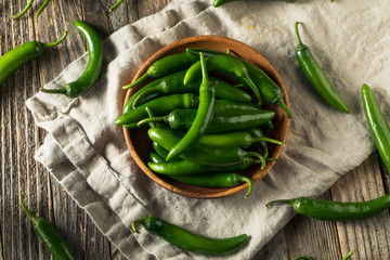 Canvas Prints Hot chili peppers Raw Green Organic Serrano Peppers