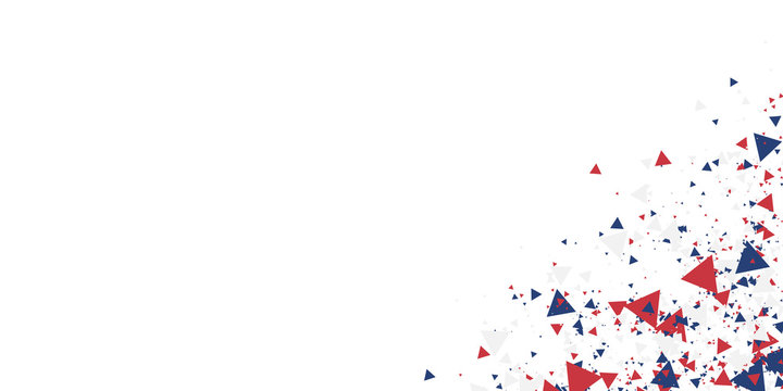 White background with red blue america color geometric triangle. Abstract background vector illustration with copy space.