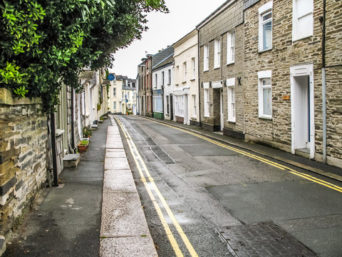 Narrow Street in Padstow Cornwall England. No People
