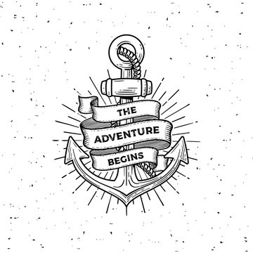 Anchor the adventure begins white Vector illustration