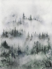 Foggy Forest watercolor illustration, Painting of Misty Mountain Landscape.
