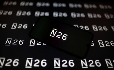 A smartphone displays a N26 logo in this illustration