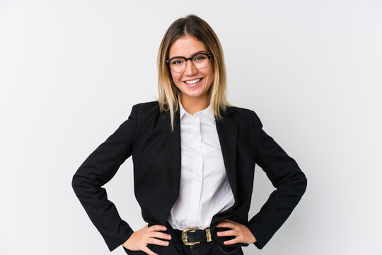 Young business caucasian woman confident keeping hands on hips.