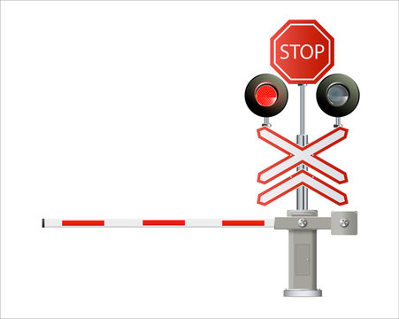 traffic light, Railway barriers close isolated on white background, design concept for start up, business solutions,development and innovation, creativity,