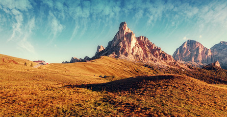 Unsurpassed sunrise in the mountains. wonderful summer day in dolomites alps. famouse Ra Gusela peak under sunlight. Amazing nature landscape. Picture of wild area. stunning picturesque Scene