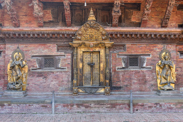 Golden door and statues of the temple at Durban square on Patan near Kathmandu, Nepal